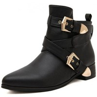 Black Leather Strappy Straps Golden Metal Buckles Punk Rock Grunge Gothic Ankle Boots
