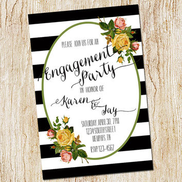Engagement Party Invitation - rehearsal dinner invitation - Wedding Party - Digital file - Printable or PRINTED - Floral and Stripes