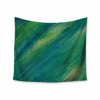 """Cyndi Steen """"Phthalo Abstract"""" Blue Yellow Watercolor Wall Tapestry"""
