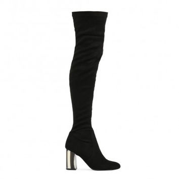 Marbled Heel Over the Knee Boots Black