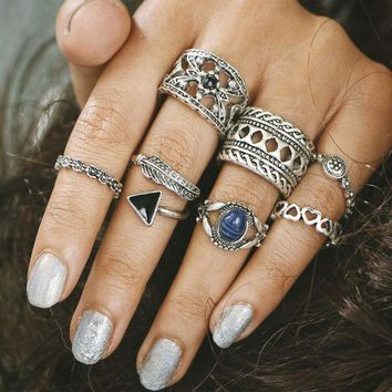 7pcs/Set Joint ring set Women Bohemian Vintage Silver Stack Rings Above Knuckle Blue Rings Set #45