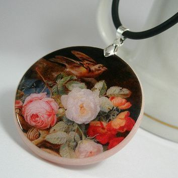 Sparrow Colorful Vintage Painting Necklace Polymer Clay