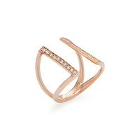 Rose Gold & Diamond Double Bar Ring