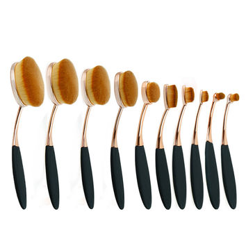 10pcs oval makeup brush set professional rose gold make up brushes set oval brush set cosmetic brush makeup tools for beauty