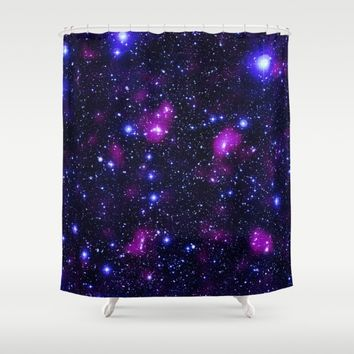 GalAxy Purple Blue Stars Shower Curtain by 2sweet4words Designs