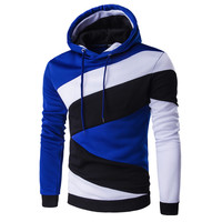 Men's Hip Hop Color Stitching Sweatshirt Slim Fit Hoodie