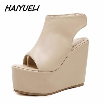 HAIYUELI new summer fashion women wedge sandals flip flop casual shoes woman girls hig