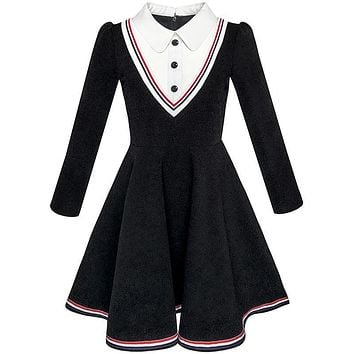 Sunny Fashion Girls Dress School Uniform White Collar Long Sleeve Striped 2017 Summer Princess Wedding Party Dresses Size 4-12