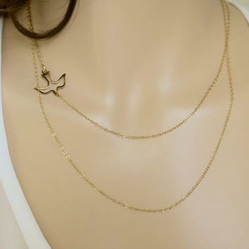 Layered Necklace with A Flying Bird, 14K gold Fill, Sterling Silver Delicate Necklace, Bird Necklace Layered, Dainty Set of 2 by just1gold