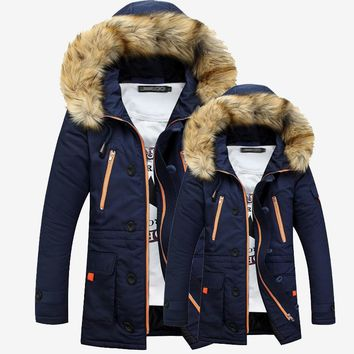 Winter Jacket Men Fashion Design Big Fur Hooded Men's Long Waterproof