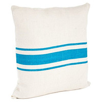 Colorful Striped Coastal Jute Throw Pillow (Turquoise, 20-in Square)
