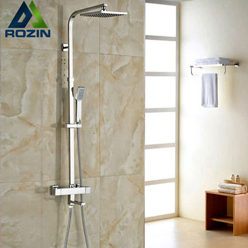 "Brand New Chrome Thermostatic Water Shower Faucet Set Bath Tub Shower Mixers with Handshower 8"" Rain Showerhead"