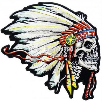 "5"" Large FEATHERED INDIAN CHIEF HEAD DEATH SKULL MOTOCYCLE MC Biker Vest  Jacket Back Metal Rock Punk applique iron on patch"