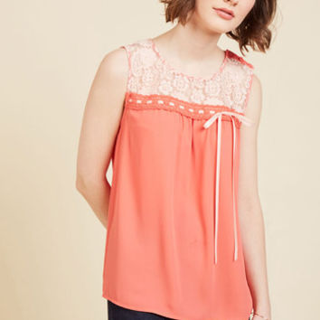 Natural Sweetener Sleeveless Top in Coral | Mod Retro Vintage Short Sleeve Shirts | ModCloth.com