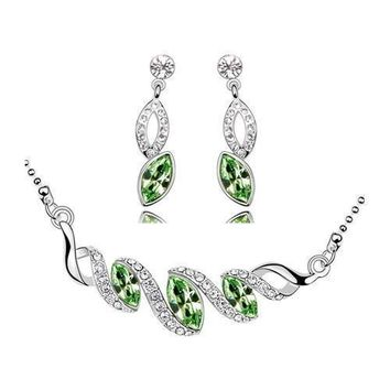 Mental Health Awareness Crystal Leaves Necklace and Earrings Set