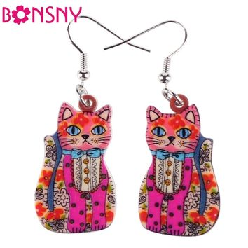 Bonsny Drop Japan Cat Fish Earrings Acrylic Pattern Long Danlge Earrings Animal New 2016 Fashion Jewelry For Women Accessories