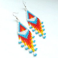 Dangle Seed Bead Earrings-Beaded Earrings American Style-Long Earrings With Fringe-Fringe Dangle Earrings-Light Beadwoven Long Earrings
