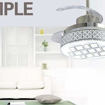 Modern stealth ceiling chandelier fan 42inch LED fan lights restaurant ceiling chandelier fan with remote control living room