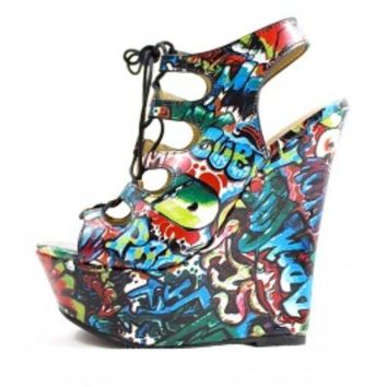 Dollhouse Believe Graffiti Open Toe Lace Up Cut Out Platform Women Wedge wowtrendz
