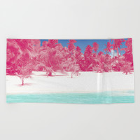 Pink Palms Beach Towel by Kate & Co.