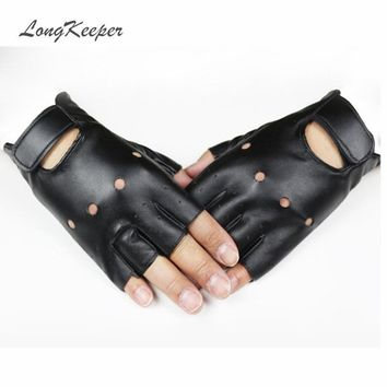 LongKeeper Leather Gloves for Women Men Fingerless Gloves for Dancing Party Show Mittens Black Gold Silver Guantes Mujer