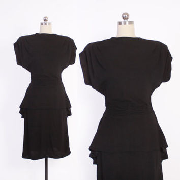 Vintage 40s DRESS / 1940s Black Rayon Crepe Cocktail Peplum Dress with Shirring and Strong Shoulders XS