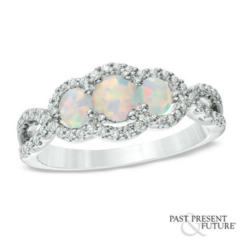 Lab-Created Opal and 1/4 CT. T.W. Past Present Future® Engagement Ring in 10K White Gold