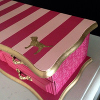 Vintage Jewelry Box Hand Painted and Decopauged. Pink