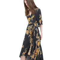 Black and Yellow Floral Print V-Neck Color Block Kimono
