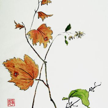 Chinese Fall Leaves Watercolor Painting