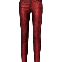 Metallic Crimson Leather Pants