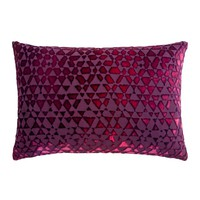 Triangles Velvet Raspberry Pillows by Kevin O'Brien Studio