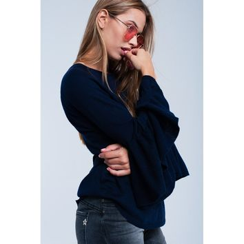 Navy sweater with frill detail
