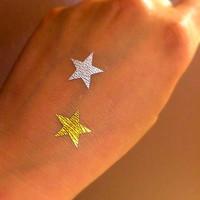 5 metallic Temporary Tattoos Gold or Silver Stars / Fake Tattoos / Set of 5