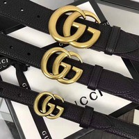 GUCCI Retro Men Women Chic GG Buckle Leather Belt