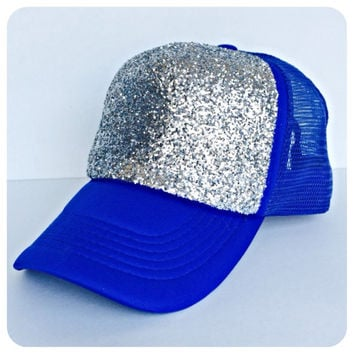 Blue and Silver Glitter Hat