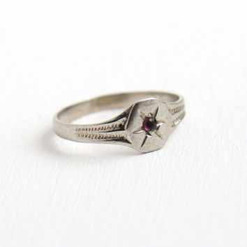Antique Art Deco 10k White Gold Simulated Amethyst Stone Baby Ring - 1930s Size 1 Incised Star Purple Stone Midi Knuckle Pinky Jewelry