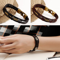 Punk Style Leather Muti-layers Men Charm Buckle Barcelet Wrap Wristband Cuff Bracelet for Men Free shipping