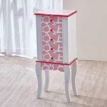Teamson Kids - Fashion Prints Jewelry Armoire - Giraffe (Baby Pink / White)