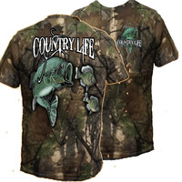 Country Life Outfitters Camo Realtree Bass Fishing Vintage Unisex Bright T Shirt