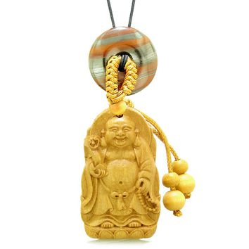 Laughing Buddha Blooming Lotus Car Charm Home Decor Dragon Eye Iron Coin Donut Protection Amulet