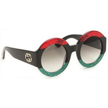 ONETOW ? Gucci GG0084S 001 Oversize Round Women Sunglasses 100% UV Red Black Green
