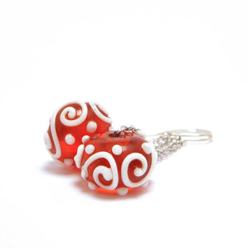 Bright Red Dangle Earrings - Lampwork Red and White Earrings, Sterling Silver Earrings - 'Strawberry Delight'