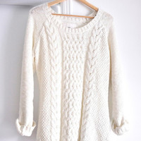 White Knit, Oversized Sweater