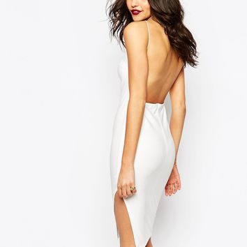 Boohoo White Crepe Bodycon Midi Dress