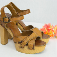 Vintage 1970's Wood Platform Heels Boho Shoes Size 7 1/2 Ankle Straps Leather