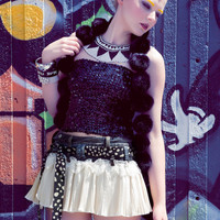 Up-Cycled Harajuku Fashion Pleated Cowgirl Skirt in Soft Vanilla Cream & Denim by Janice Louise Miller