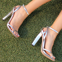 Open Strap Square Toe Heels in Metallic Silver