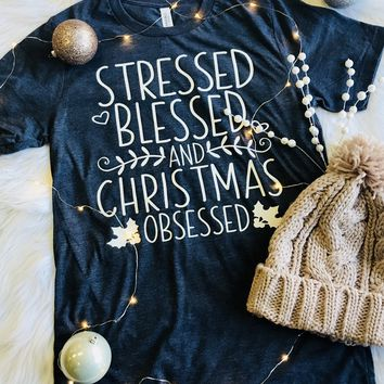 Stressed Blessed and Christmas Obsessed in Navy