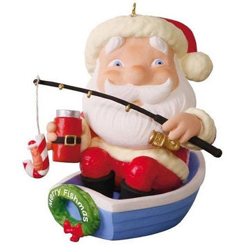Merry Fishmas Santa Fishing Ornament